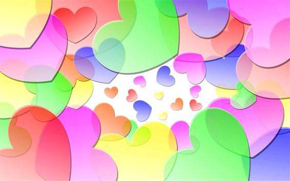 Wallpaper Colorful love hearts, creative picture