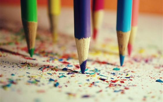 Fond d'écran Crayons colorés, débris