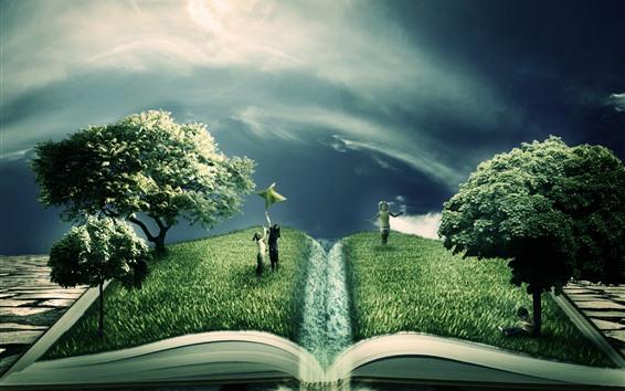 Обои Креативная картинка, ребенок, книга, зелень, деревья
