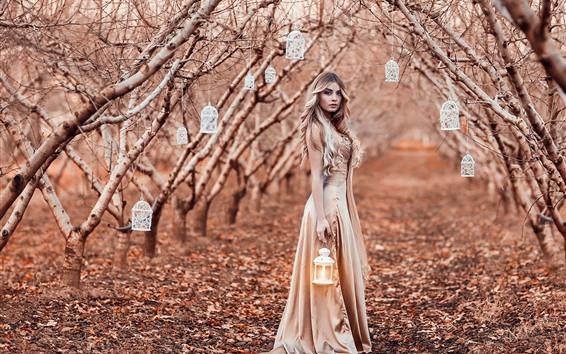 Wallpaper Curly hair girl, lanterns, trees