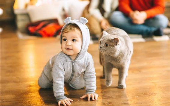 Wallpaper Cute baby and cat, floor