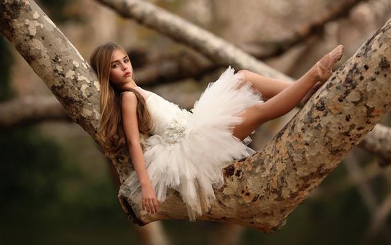 Wallpaper Cute ballerina girl, tree, child