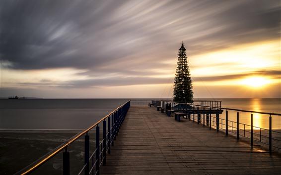 Wallpaper Dock, bridge, Christmas tree, sea, sunset