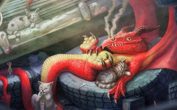 Обои Дракон и коты, художественная картина