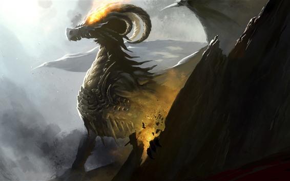 Wallpaper Dragon, horns, fire, art picture
