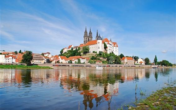 Fondos de pantalla Río Elba, Sajonia, castillo Albrechtsburg, Alemania