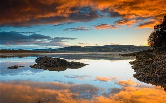 Fond d'écran Angleterre, galles nord, rivière, coucher soleil, nuages