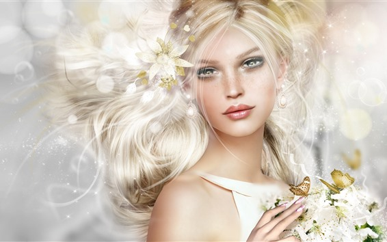 Wallpaper Fantasy blonde girl, butterfly, flowers