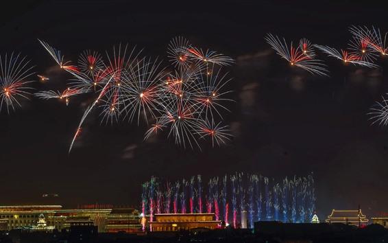 Wallpaper Fireworks, like flowers, Beijing, China