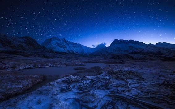 壁紙 フランス、アルプス、山、夜、星空、空、星