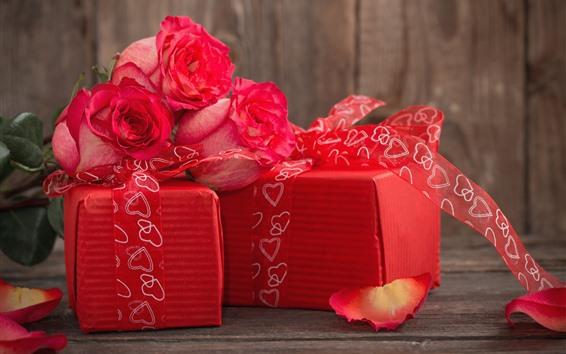 Обои Подарки, розы, лепестки, красный стиль, романтика