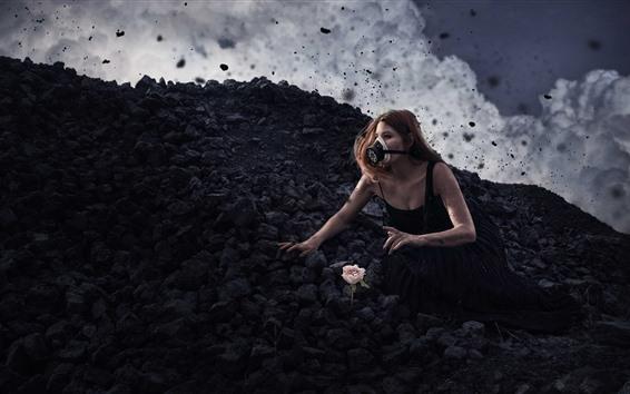 Wallpaper Girl, gas mask, black stones