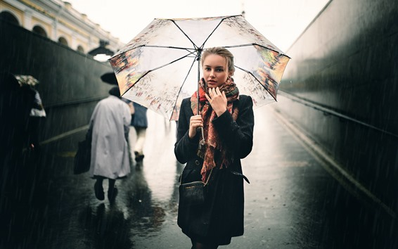 Papéis de Parede Garota na chuva, guarda-chuva, rua