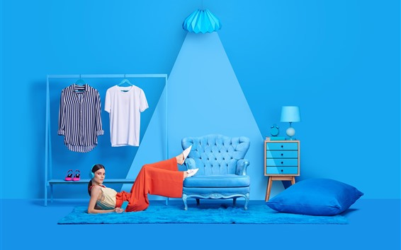 Wallpaper Girl, pose, blue style room, art photography