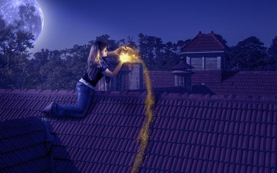 Wallpaper Girl, roof, moon, night, magic, shine