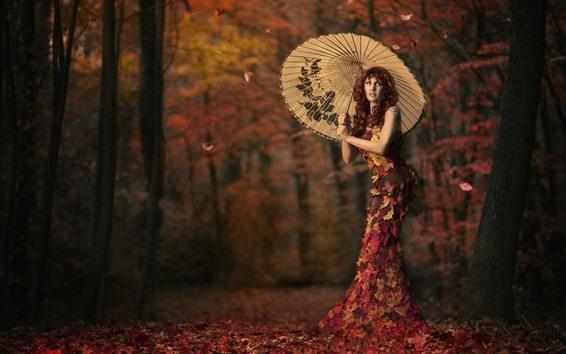 Papéis de Parede Menina, guarda-chuva, bordos deixa a saia, árvores