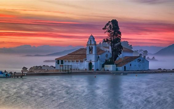 Papéis de Parede Grécia, mosteiro, lago, nevoeiro, manhã