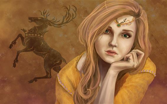 壁紙 緑色の目ファンタジー少女、金髪、鹿