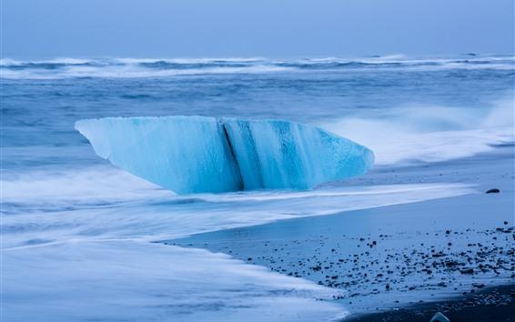 Обои Исландия, льдина, лед, море