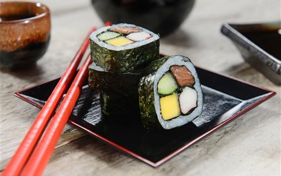 Fond d'écran Cuisine japonaise, sushi, bâtons