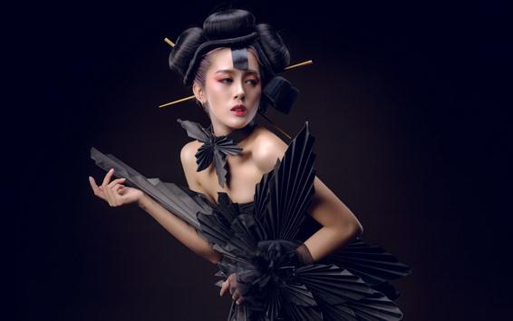 Wallpaper Japanese girl, black skirt, pose, fashion