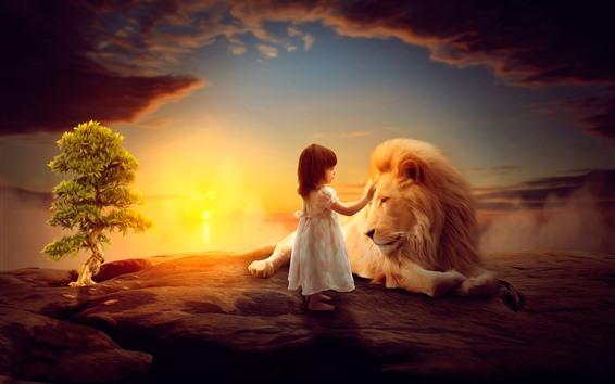 Fond d'écran Petite fille et lion, enfant, photo d'art
