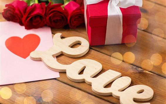 Papéis de Parede Amor, presente, rosas vermelhas, romântico