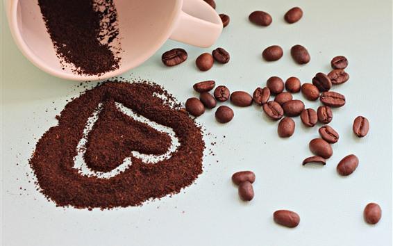 Wallpaper Love heart, coffee beans, powder, cup