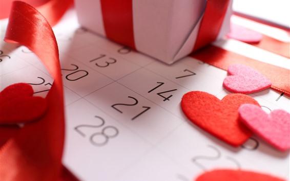 Обои Любовь сердца, календарь, подарок, День Святого Валентина