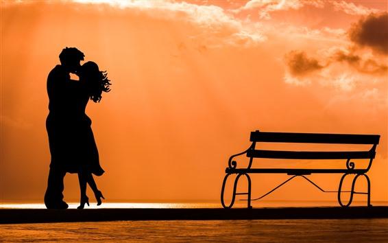 Fond d'écran Amoureux, silhouette, banc, coucher de soleil, rivière, romantique