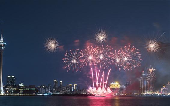 Fondos de pantalla Macao, noche, ciudad, fuegos artificiales