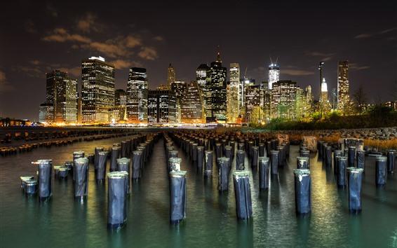 Wallpaper Manhattan, New York, skyscrapers, stumps, river, night, lights