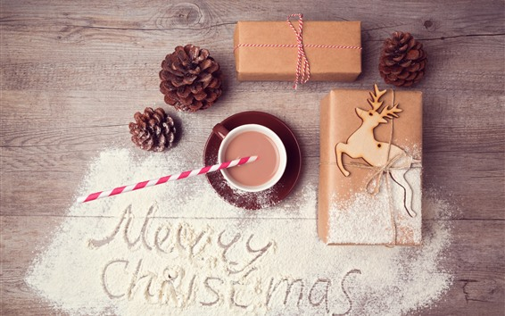 Wallpaper Merry Christmas, gift, powder, coffee, deer