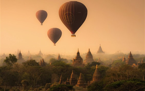 Wallpaper Myanmar, pagoda, temples, hot air balloon, fog