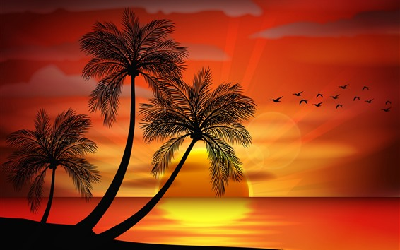 Wallpaper Palm trees, birds, sunset, vector picture