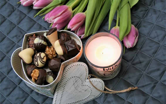 Wallpaper Pink tulips, chocolate, love heart, candle, romantic