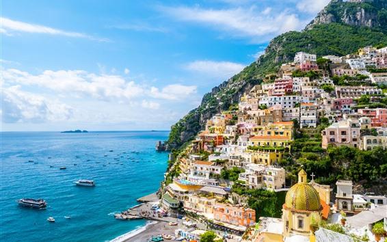 Wallpaper Positano, Italy, Campania, mountain, city, sea, yacht