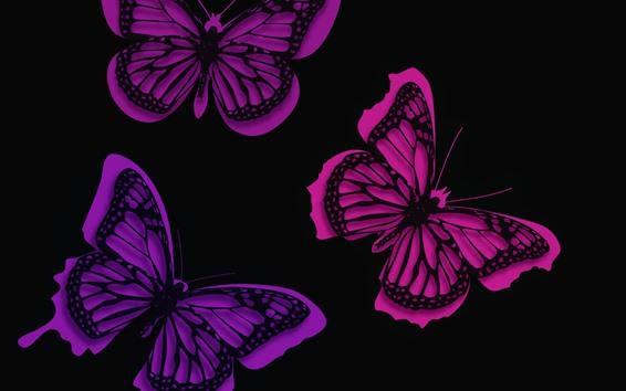 Обои Фиолетовые бабочки, креативная картинка