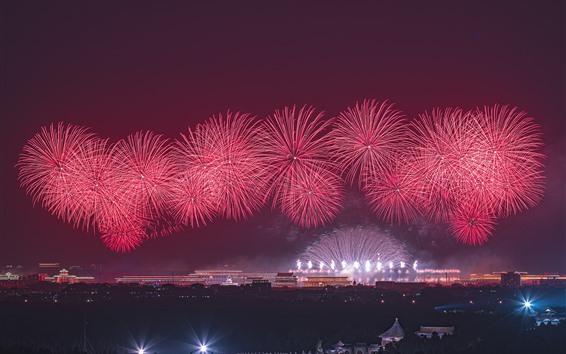 Обои Красный фейерверк, ночь, Пекин, Китай, 2019
