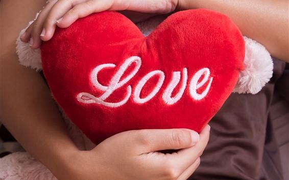 Wallpaper Red love heart, pillow, hands