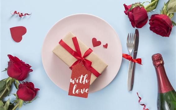 Papéis de Parede Rosas vermelhas, coração de amor, presente, romântico