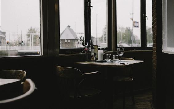 Papéis de Parede Restaurante, mesa, janela