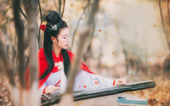 Wallpaper Retro style Chinese girl play pipa, trees
