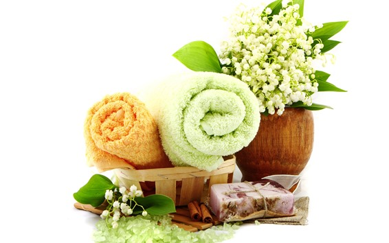 Wallpaper SPA themed, towel, lily of the valley, soap