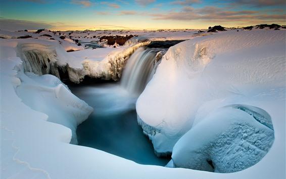 Fond d'écran Neige, cascade, gorge, ruisseau, hiver