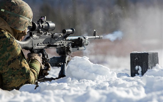 Wallpaper Soldier, shoot, snow, weapon