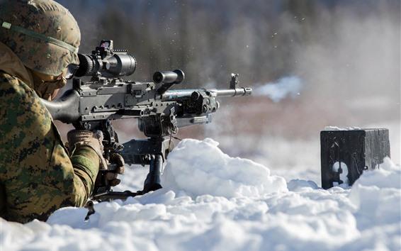 Fond d'écran Soldat, pousse, neige, arme