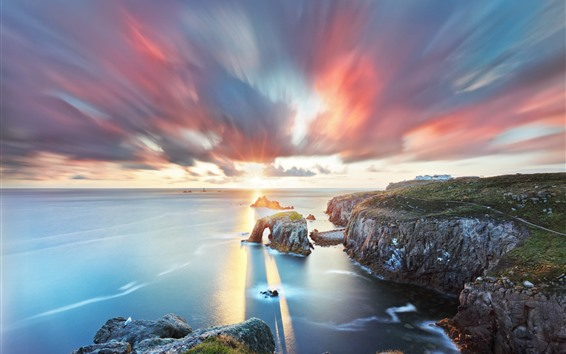 Wallpaper South West England, Cornwall, sea, arch, clouds, sunset