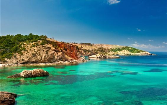 Wallpaper Spain, Ibiza, island, blue sea, water, sky