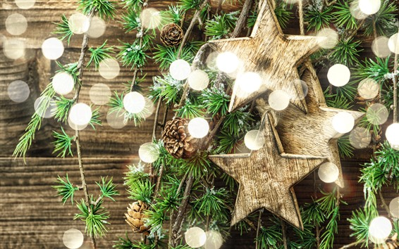 Wallpaper Stars, light circles, twigs, Christmas